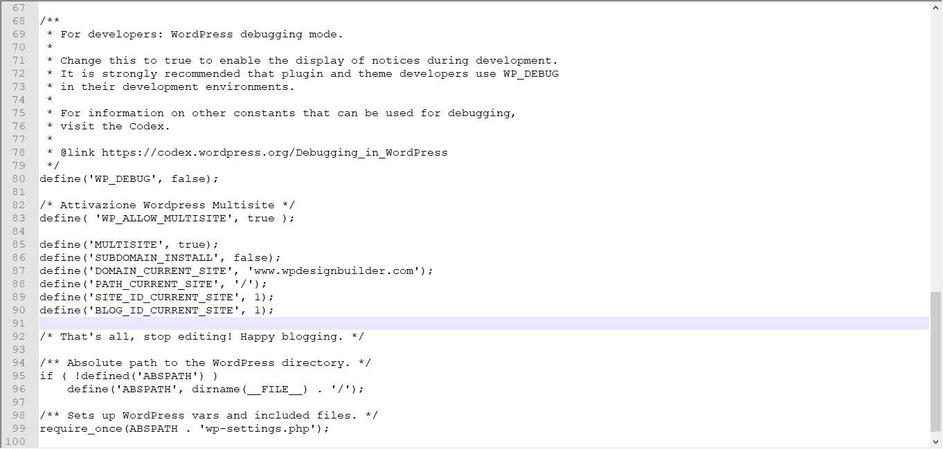attivazione del network wp config wordpress multisite