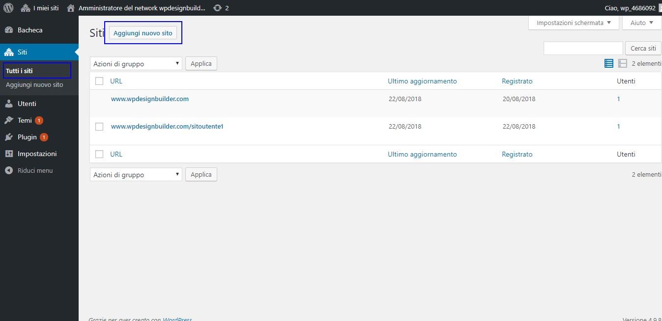 creazione sito wordpress multisite - come creare un nuovo sito nella rete wordpress multisite