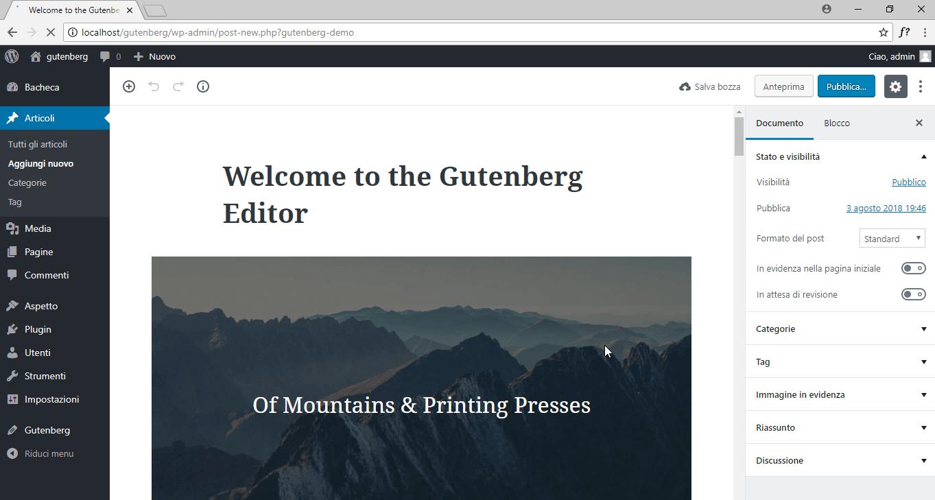 gutenberg editor installazione