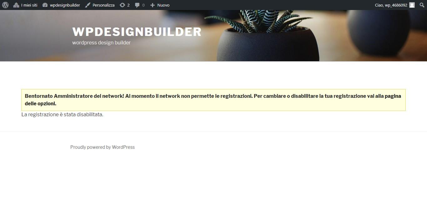 registrazione disabilitata wordpress multisite - come creare un nuovo sito nella rete wordpress multisite