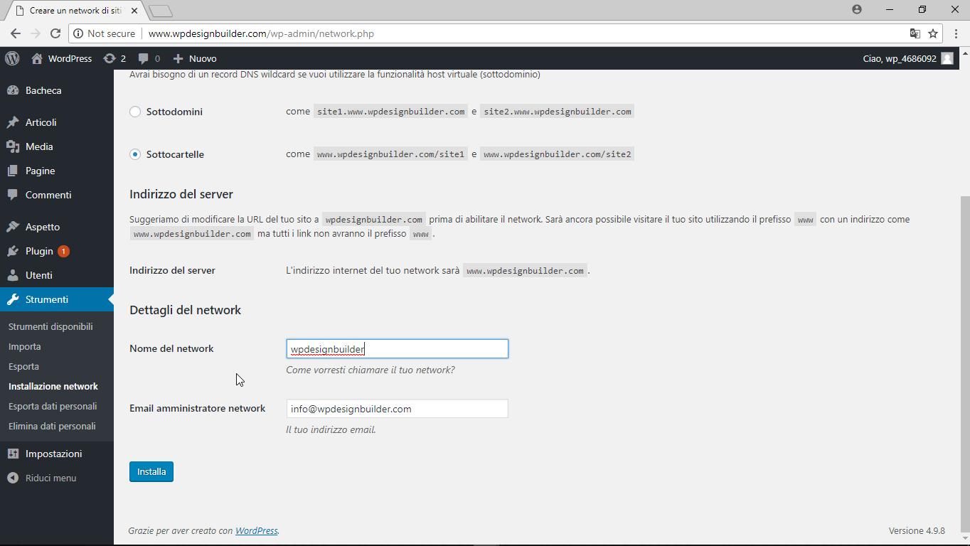 strumemti installazione network completo - Come configurare la rete di siti wordpress multisite