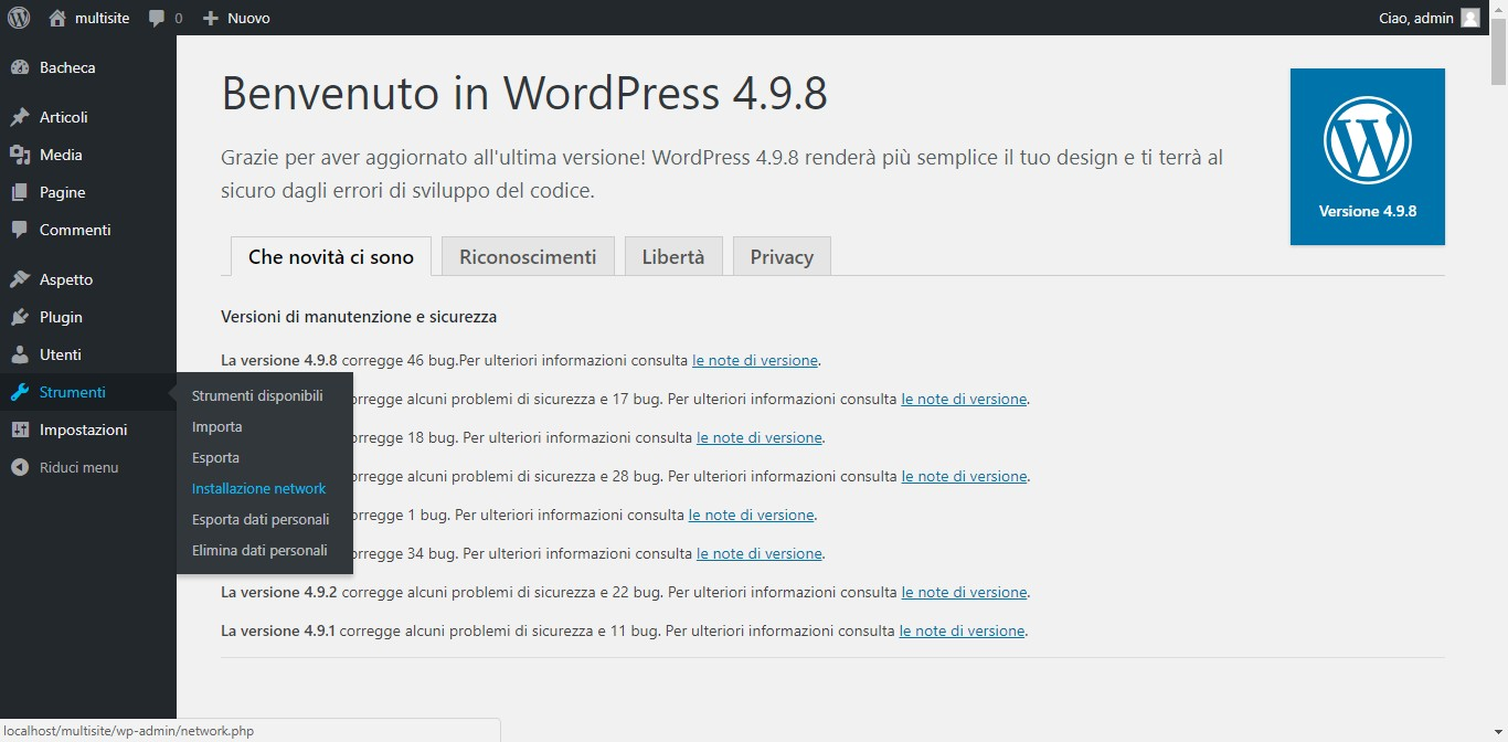 strumenti installazione network wordpress multisite
