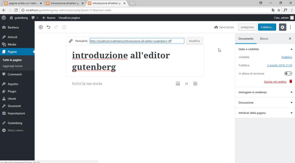 wordpress gutenberg-blocco-creazione titolo nuova pagina