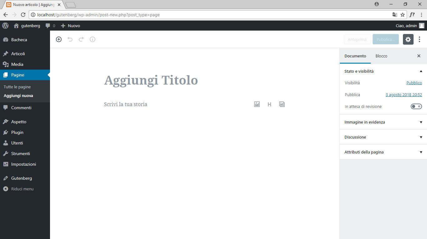 wordpress gutenberg editor nuova pagina